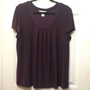 Plum Colored Pleated Cap Sleeve Silky Blouse